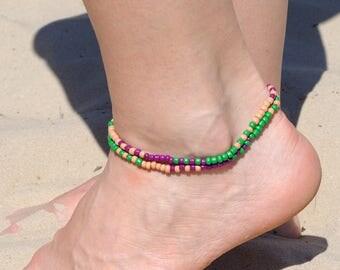 Boho anklet Foot ankle bracelet Gift for Girlfriend Gift for Women Wrap Beaded anklet Beach anklet Summer gift holiday gift girls gift ideas