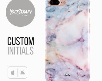 Marble Phone case, Personalised iPhone 6, 7 Plus, samsung Galaxy S8, 5S, SE custom case, personalized colourful S6, S7, S5 monogram cover