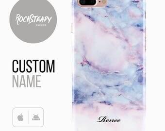 Marble Phone case, Personalised Name iPhone 7, 6, 6s Plus, samsung Galaxy S8, 5S,SE custom white case, personalized S6, S7, S5, Edge