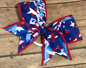 4th of July Cheer Bow, Red White And Blue Cheer Bow, Cheerleader, Cheerleading, Large Bow, Custom Cheer Bow, Patriotic Bow, Memorial Day