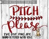 Pitch Please - laces - Hand lettered - svg, dxf, png, jpg, baseball, softball, sports, Brush Lettering, Cricut, Studio Cutable file