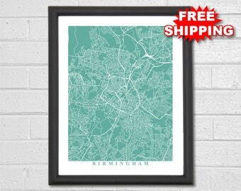 Birmingham Map Art - City Maps - UK - Travel - Map Print - Custom Map - United Kingdom - Travel Gift - Home Office Decor - Birmingham Map
