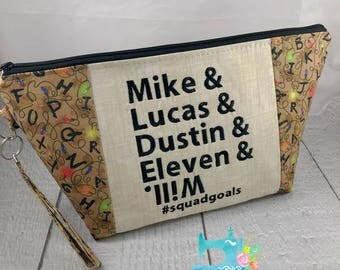 Stranger Things #SquadGoals Zipper Bag - Knitting Project Bag - Crochet Bag