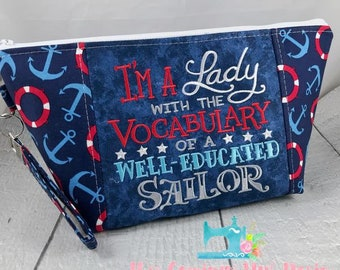 Vocabulary of a Sailor - Anchors - Knitting Project Bag - Crochet Bag