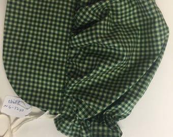 Child's MEDIUM 6-12 yo Dark Green Check Pioneer Sun Bonnet Prairie Colonial Hat