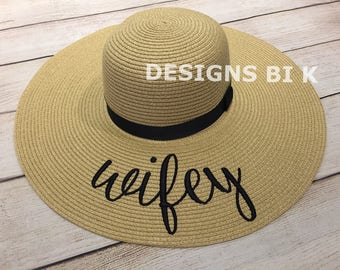 Personalized hat, Personalized straw hat, Monogrammed beach hat, Floppy hat with wifey, Summer hat, Beach hat, Straw hat, Bridal Shower Gift
