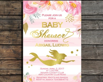 Mermaid Baby Shower Invitation Under the Sea Baby shower Invitation Girl baby shower invitation Pink and gold floral baby shower invites
