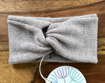 Handmade Headband Soft Merino Wool light grey