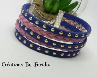 Blue and pink Cuff Bracelet