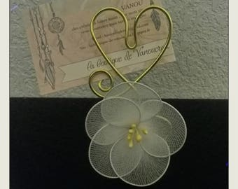 Door photo or name brand place love heart gold white flower