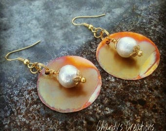 Cotton Pearl Earrings, Unique, Copper, Gift for Bridesmaids, Gift for Mom, Handcrafted Earrings, Hammered Copper, White Cotton Pearls