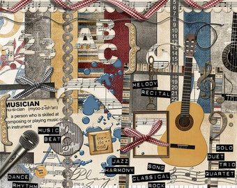 "Music Digital Scrapbook Kit - ""Musical Interlude"" digital papers and elements with keyboard, guitar and microphone for scrapbook layouts"