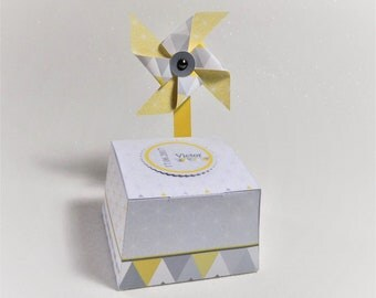 Box dragees with customizable windmill, Scandinavian design, for communion, wedding, birthday...