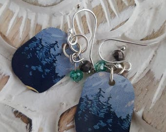 Sweet Mountain Pine Repurposed Vintage Tin Earrings With Free Passalong Charm. By Jack and Diddly.