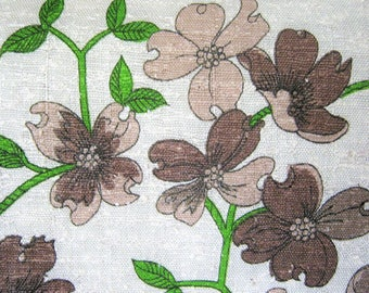 Vintage Linen Floral Fabric*Brown and Tan Flowers*Beige Background*Green Stems*Stiff Fabric*1980's Fabric*1 2/3 Yards*Sewing Fabric*Apparel