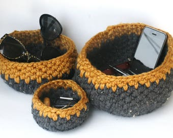Crochet Nesting Baskets in Denim and Mustard - Handmade Bowls - Soft-sided Storage - Catchall in Blue and Yellow