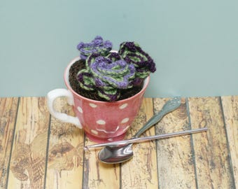 Succulent / Chicks and Hens - Crochet / Knit Faux Cactus in pink and white polka dot tea cup