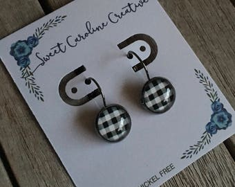 black & white gingham check dangle earrings