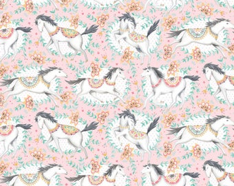 Blend Hill And Dale Fillies Horse Fabric - Pink (Priced by the half yard and cut continuously)