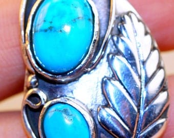 Sleeping Beauty Turquoise & 925 Sterling Silver Ring size 7 by Silver Trend
