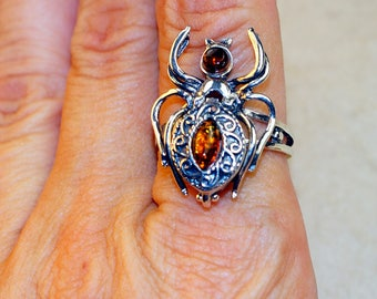 Cognac Baltic Amber  & 925 Sterling Silver Ring size 9.5 by Silver Trend