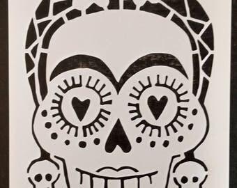 Day of the Dead Dia de los Muertos Female Sugar Skull Custom Stencil FAST FREE SHIPPING