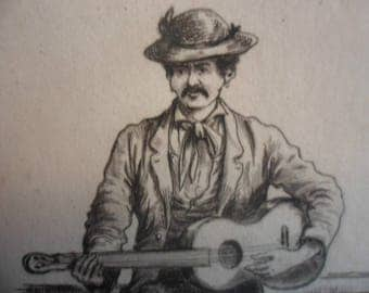 Fine Art Etching - Barcarolle Napolitaine by Belgian artist Mars Study of guitar player - 1875 on hand-laid paper uncut, original and rare.