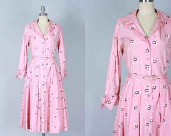 Vintage 1950s Dress | Pink Shirtwaist Cocktail Dress with Rhinestone Buttons and Buckles | Large