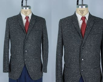 Vintage 1950s Sport Coat | Grey Jacket with Black, White, & Blue Fleck | Size 38