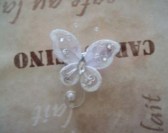 brooch groom boutonniere bridal wedding White Pearl Butterfly wire wheels holiday evening ceremony