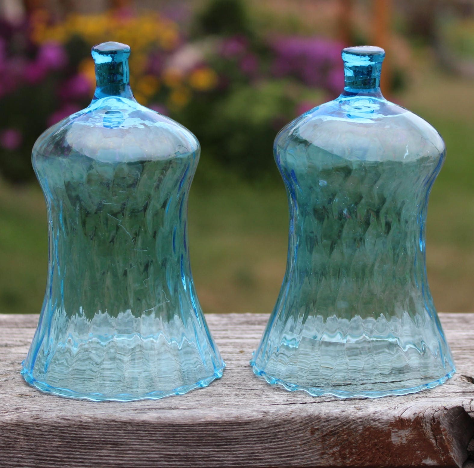 blue blown glass tall honeycomb votive cups for sconces lot of 2