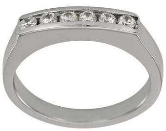Classic Channel Set Diamond Wedding Band With Flat Top