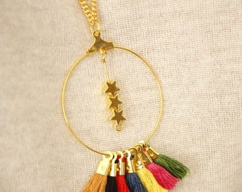 pom poms and stars gold ring necklace
