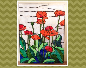 Poppy / poppies scene window cling for glass & mirrors, reusable static cling decals, faux stained glass effect, decal, suncatcher