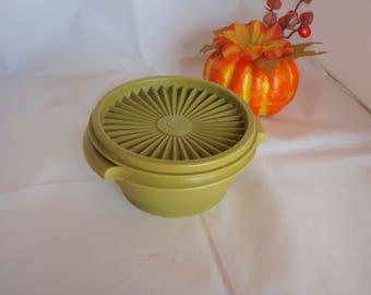 Vintage Tupperware Servalier Bowl #1323 Olive Green with Lid