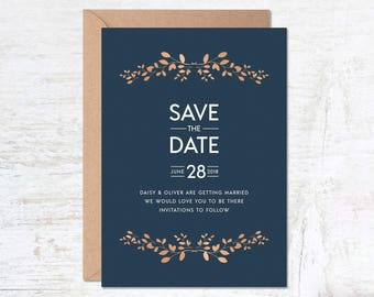 Blue Save the Date, Save the Date Template, Wedding Invitation Template, Blue Wedding Invitation, Save the Date Printable, Modern Save Date