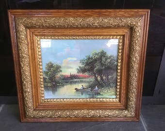 Antique Victorian Oak Gesso Frame Lake Scend Pond Print Old and Original