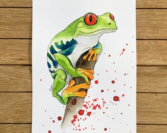 Tree Frog, Original Watercolor Illustration, A5 size