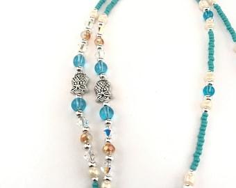 Beaded Eyeglass Chain Holder-Owls~Turquoise Cream Tan~Swarovski Crystal