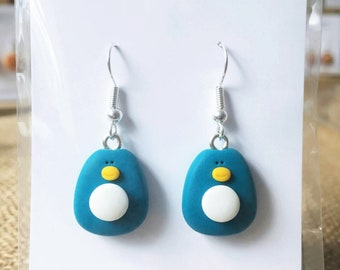 Teal Penguin Earrings - Polymer Clay