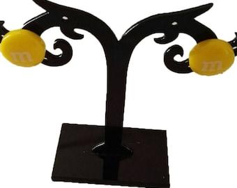 Yellow acrylic round earrings