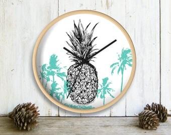 Pineapple Wall Clock, Tropical Wall clock, Teen Room Decor, Aqua White Wall Clock, Clock for Wall, Hipster Clock, Gift For Kids, Nature Art
