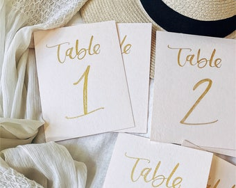 Blush and Gold Table Number Calligraphy, Table Number Calligraphy, Hand lettered Table Numbers
