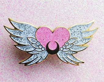 SECONDS SALE - Eternal Sailor Moon - lapel enamel pin glitter kawaii anime manga cute glitter sparkle lolita fairy kei pastel pink