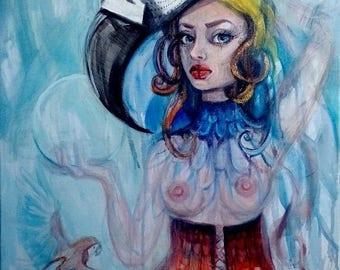 "Acrylic painting,60cmx80cm,""The Parrot"""