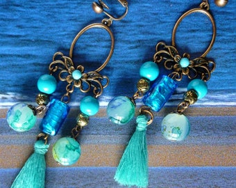 """Earrings, boho-chic """"Kupros"""" style, antique copper, blue lampwork glass, marbled turquoise glass beads"""