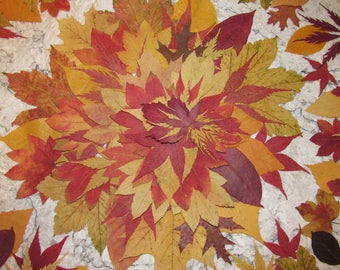 100 Pressed Dried Autumn / Fall Leaves Weddings, Crafts, Rustic Decor, Real Natural Leaf Floral Decoration, Woodland