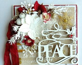 Beautiful Handmade Shabby Chic Christmas Greeting Card #WC2017-89