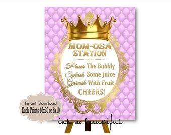 PRINTABLE Princess Baby Shower Mimosa Bar Sign, MOMosa Bar Sign Prints 16X20 8X10, Royal Baby Shower Decor, Royal Collection RL-008