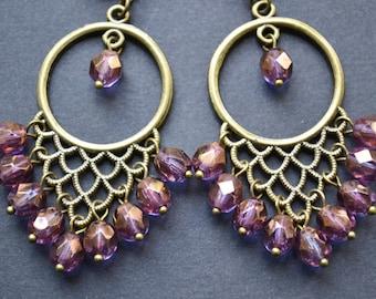 Boho hippie bohemian earrings, beaded pendants clip on earrings - non pierced earrings - gift for her